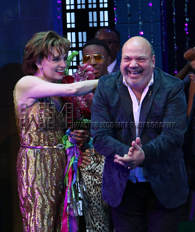 """Beth Leavel and Casey Nicholaw during the Broadway Opening Night Curtain Call of """"The Prom"""" at The Longacre Theatre on November 15, 2018 in New York City."""