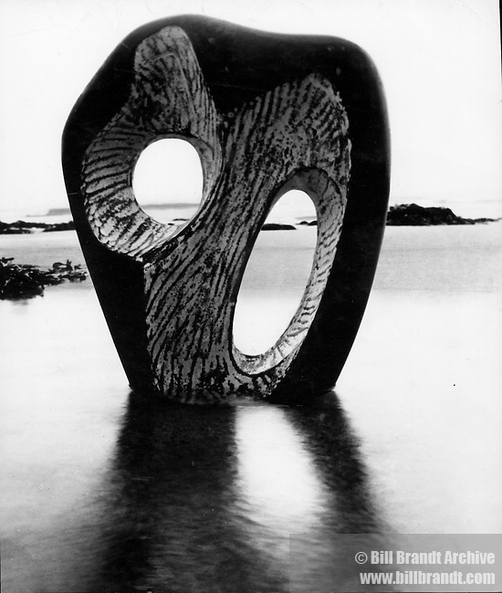 Hepworth sculpture on beach