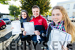 Bríd Sionóid, Ciarán Ó'Donnchú and Amy Pollmann, Gaelchólaiste Chiarraí students, pictured after receiving their Junior Certificate results on Wednesday morning last.