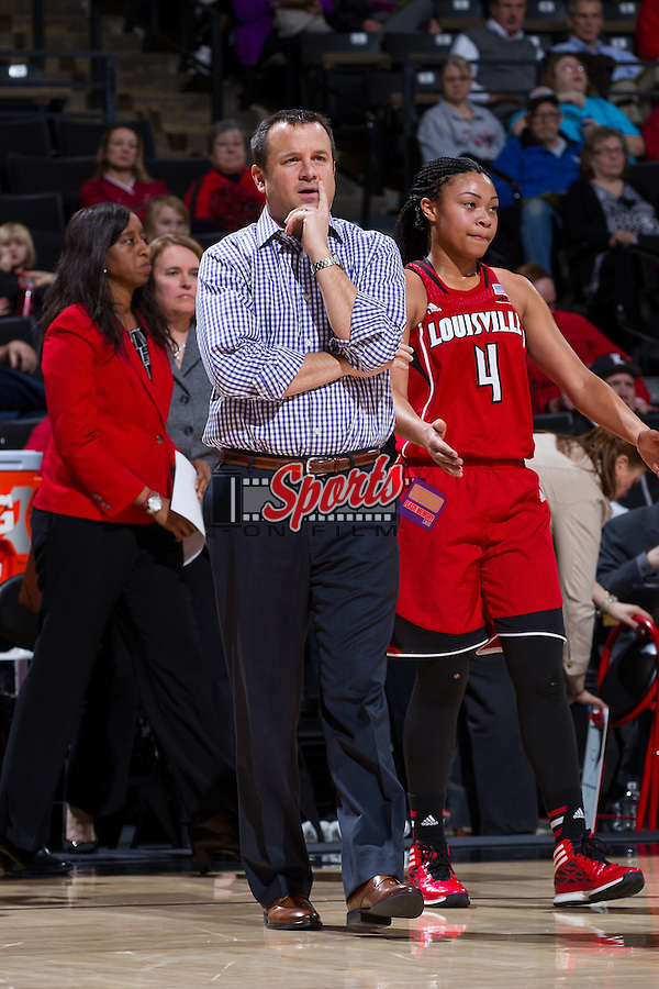 Louisville Cardinals head coach Jeff Walz questions an official during first half action against the Wake Forest Demon Deacons at the LJVM Coliseum on January 11, 2015 in Winston-Salem, North Carolina.  The Cardinals defeated the Demon Deacons 79-68.  (Brian Westerholt/Sports On Film)