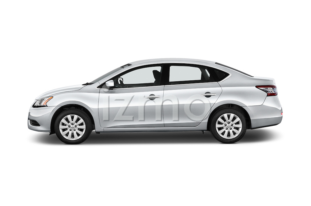 Car Driver side profile view of a2014 Nissan Sentra SV 4 Door Sedan Side View
