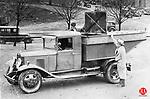 An early garbage truck in Waterbury, April 1934.