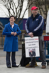 "© Joel Goodman - 07973 332324. 24/03/2018. Birmingham, UK. For Britain party leader ANNE-MARIE WATERS at a Football Lads Alliance demonstration against Islam and extremism in Birmingham City Centre , standing next to a man holding a placard reading "" Don't mention Islam "" . Offshoot group, The True Democratic Football Lads Alliance, also hold a separate demonstration . Photo credit : Joel Goodman"