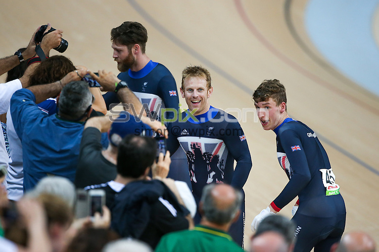 Picture by Alex Whitehead/SWpix.com - 11/09/2016 - 2016 Rio Paralympic Games - Track Cycling - Olympic Velodrome, Rio de Janeiro, Brazil - Great Britain's Louis Rolfe, Jon-Allan Butterworth and Jody Cundy win Gold in the Mixed C1-5 750m Team Sprint Final