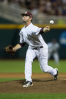 Mississippi State pitcher Chad Girodo (18) delivers a pitch to the plate during Game 1 of the 2013 Men's College World Series Finals against the UCLA Bruins on June 24, 2013 at TD Ameritrade Park in Omaha, Nebraska. The Bruins defeated the Bulldogs 3-1, taking a 1-0 lead in the best of 3 series. (Andrew Woolley/Four Seam Images)