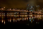 Downtown Portland and the Willamette river on a winter's night