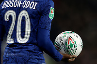 30th October 2019; Stamford Bridge, London, England; English Football League Cup, Carabao Cup, Chelsea Football Club versus Manchester United; Callum Hudson-Odoi of Chelsea holds the match ball - Strictly Editorial Use Only. No use with unauthorized audio, video, data, fixture lists, club/league logos or 'live' services. Online in-match use limited to 120 images, no video emulation. No use in betting, games or single club/league/player publications