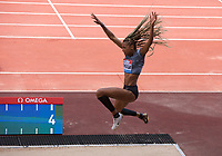 Nafissatou Thiam (Belgium) competing in the Women's long jump during the IAAF Diamond League Athletics Müller Grand Prix Birmingham at Alexander Stadium, Walsall Road, Birmingham on 18 August 2019. Photo by Alan  Stanford.