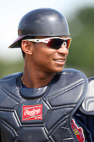 Atlanta Braves minor league catcher Christian Bethancourt vs. the Houston Astros during an Instructional League game at Osceola County Stadium in Kissimmee, Florida;  October 14, 2010.  Photo By Mike Janes/Four Seam Images