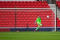 4th July 2020; Bet365 Stadium, Stoke, Staffordshire, England; English Championship Football, Stoke City versus Barnsley; Goalkeeper Jack Butland of Stoke City clears the ball up the pitch