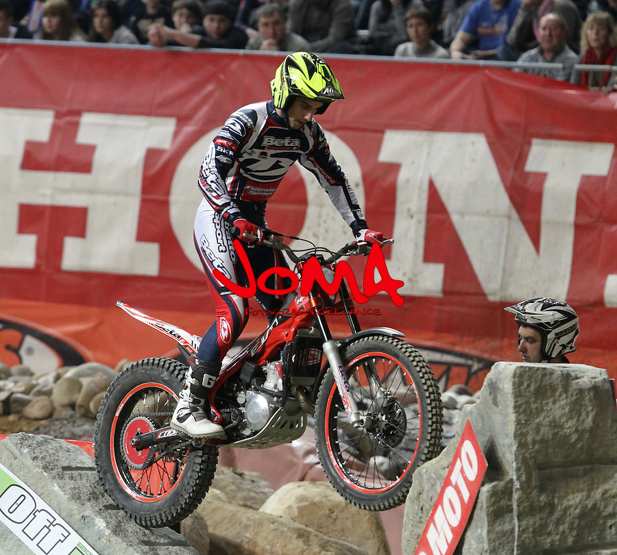 10.02.2013. Barcelona, Spain. FIM X Trial World Championship. Picture show Jeroni Fajardo riding Beta in action during GP of Catalunya at Palau St. Jordi
