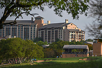 A long view of the green on 15 with the JW Marriott in the background during day 2 of the Valero Texas Open, at the TPC San Antonio Oaks Course, San Antonio, Texas, USA. 4/5/2019.<br /> Picture: Golffile | Ken Murray<br /> <br /> <br /> All photo usage must carry mandatory copyright credit (&copy; Golffile | Ken Murray)