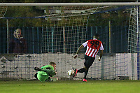 Andre Spencer of Clapton scores the first goal for his team during Redbridge vs Clapton, Essex Senior League Football at Oakside Stadium on 14th November 2017