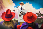 25th Annual National Cowboy Poetry Gathering sponsored by the Western Folklife Center, Elko, Nev...Nevada Gathering hosted by Meg Glaser..Bimbo Cheney performs at the mic