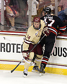 Brooks Dyroff (BC - 14), Dustin Darou (NU - 47) - The Boston College Eagles defeated the visiting Northeastern University Huskies 3-0 after a banner-raising ceremony for BC's 2012 national championship on Saturday, October 20, 2012, at Kelley Rink in Conte Forum in Chestnut Hill, Massachusetts.
