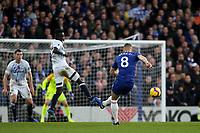 Ross Barkley of Chelsea blasts the ball wide of the Everton goal during Chelsea vs Everton, Premier League Football at Stamford Bridge on 11th November 2018