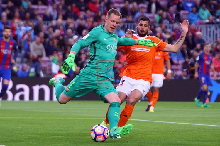 League Santander 2016/2017. Game: 34.<br /> FC Barcelona vs CA Osasuna: 7-1.<br /> Marc-Andre ter Stegen vs Fran Merida.