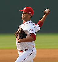 Starting pitcher Jason Garcia (21) of the Greenville Drive in a game against the Asheville Tourists on May 16, 2012, at Fluor Field at the West End in Greenville, South Carolina. (Tom Priddy/Four Seam Images)