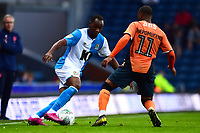 Blackburn Rovers' Ryan Nyambe competes with Oldham Athletic's Gevaro Nepomuceno<br /> <br /> Photographer Richard Martin-Roberts/CameraSport<br /> <br /> The Carabao Cup First Round - Tuesday 13th August 2019 - Blackburn Rovers v Oldham Athletic - Ewood Park - Blackburn<br />  <br /> World Copyright © 2019 CameraSport. All rights reserved. 43 Linden Ave. Countesthorpe. Leicester. England. LE8 5PG - Tel: +44 (0) 116 277 4147 - admin@camerasport.com - www.camerasport.com