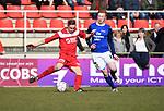 2018-03-11 / Voetbal / Seizoen 2017-2018 / VC Herentals - KFC Nijlen / Stef Bruyninckx (l. Herentals) met Tim Peleman<br /> <br /> ,Foto: Mpics.be