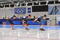 SCHAATSEN: SALT LAKE CITY: Utah Olympic Oval, 14-11-2013, Essent ISU World Cup, training, Ewen Fernandez (FRA), Benjamin Macé (FRA), Alexis Contin (FRA), ©foto Martin de Jong