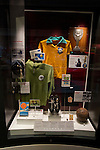 A display at the new National Football Museum in Manchester. The new museum, based in the futuristic Urbis building in the city centre of Manchester was set to open to the public on 6th July 2012. The National Football Museum, which was previously located in Preston, Lancashire, was expected to attract around 350,000 visitors each year.