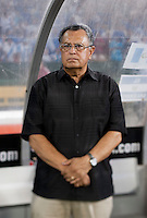 El Salvador head coach Juan de Dios Castillo stands on the sideline at RFK Stadium in Washington, DC.  Jamaica defeated El Salvador, 2-0.