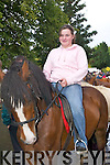 Paula Walsh Abbeyfeale takes her horse for a trot at Kenmare Fair on Wednesday.