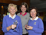 Geraldine Woods, Dorothy Moorhead and Imelda Toole welcoming the new lady captain at Ardee Golf Club. Photo:Colin Bell/pressphotos.ie