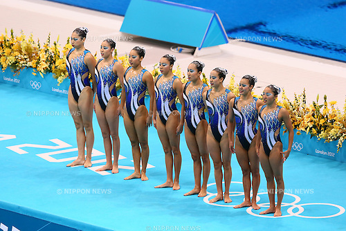 Japan team group (JPN), .AUGUST 9, 2012 - Synchronized Swimming : .Women's Team Technical Routine .at Olympic Park - Aquatics Centre .during the London 2012 Olympic Games in London, UK. .(Photo by YUTAKA/AFLO SPORT) [1040]