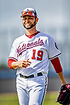 21 February 2019: Washington Nationals pitcher Anibal Sanchez prepares to work on drills during a Spring Training workout at the Ballpark of the Palm Beaches in West Palm Beach, Florida. Mandatory Credit: Ed Wolfstein Photo *** RAW (NEF) Image File Available ***