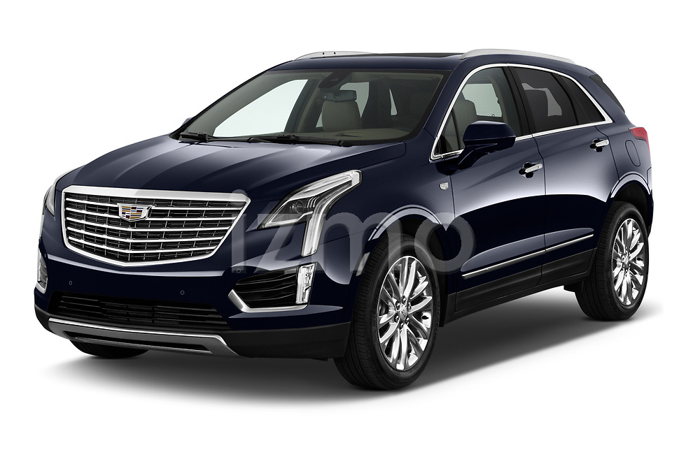2019 Cadillac XT5 Platinum 5 Door Suv Angular Front stock photos of front three quarter view