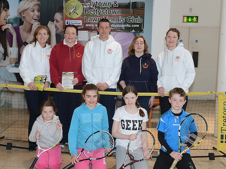 Members of Laytown & Bettystown Tennis club Eavan Breen, Joanne McElhinney, David Black, Annmarie Kierans, Nicola Piper, Emelia Piper, Meg Sowray, Sadhbh McDonough and Evan Breen who gave a demonstration to promote club membership at Scotch Hall shopping centre. Photo:Colin Bell/pressphotos.ie