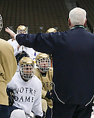 ?, Ian Cole (Notre Dame 28), Jeff Jackson (Notre Dame Head Coach) - The 2008 Frozen Four participants practiced on Wednesday, April 9, 2008, at the Pepsi Center in Denver, Colorado.