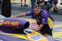 May 13, 2011; Commerce, GA, USA: NHRA pro stock driver Vincent Nobile is led into the staging beams by father John Nobile during qualifying for the Southern Nationals at Atlanta Dragway. Mandatory Credit: Mark J. Rebilas-