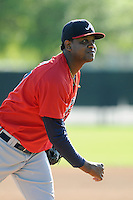 Pitcher Victor Mateo (77) of the Atlanta Braves farm system in a Minor League Spring Training workout on Tuesday, March 17, 2015, at the ESPN Wide World of Sports Complex in Lake Buena Vista, Florida. (Tom Priddy/Four Seam Images)