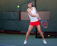 STANFORD, CA - January 26, 2011: Veronica Li of Stanford women's tennis during her match against UC Davis' Kelly Chui. Tan won 6-3, 6-0.