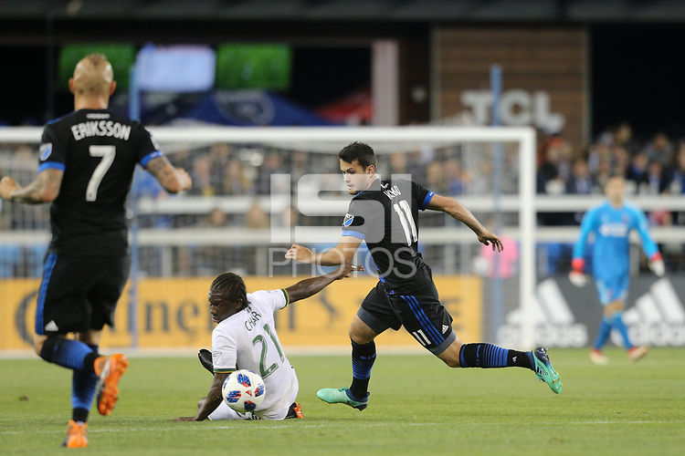 San Jose, CA - Saturday May 05, 2018: Diego Chara, Vako during a Major League Soccer (MLS) match between the San Jose Earthquakes and the Portland Timbers at Avaya Stadium.