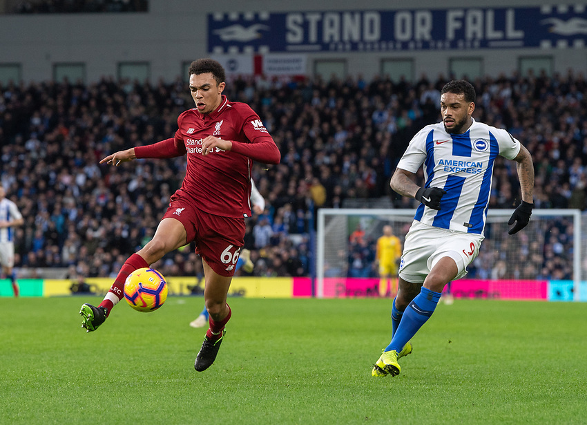 Liverpool's Trent Alexander-Arnold (left) under pressure from Brighton & Hove Albion's Jurgen Locadia (right) <br /> <br /> <br /> Photographer David Horton/CameraSport<br /> <br /> The Premier League - Brighton and Hove Albion v Liverpool - Saturday 12th January 2019 - The Amex Stadium - Brighton<br /> <br /> World Copyright © 2018 CameraSport. All rights reserved. 43 Linden Ave. Countesthorpe. Leicester. England. LE8 5PG - Tel: +44 (0) 116 277 4147 - admin@camerasport.com - www.camerasport.com