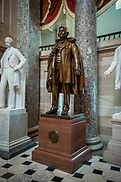 This statue of Jefferson Davis, a politician who served as the only President of the Confederate States of America (CSA), was given to the National Statuary Hall Collection by the State of Mississippi in 1931 and it stands in Statuary Hall in the US Capitol in Washington, DC., Friday, July 31, 2020.   Davis graduated from the US Military Academy (West Point), served as a member of the US House of Representatives, military commander, and US Secretary of War prior to being CSA president.  After the Civil War Davis was indicted for treason but was never brought to trial. <br /> Credit: Rod Lamkey / CNP /MediaPunch