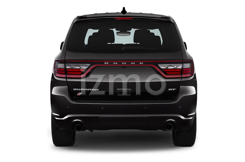 Straight rear view of a 2019 Dodge Durango GT 5 Door SUV stock images