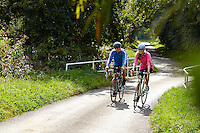 Sam and Zoe riding Carrera Bicycles. nr Binfield, Berkshire .  September    2014 .