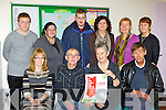 Aoife McCormack Kerry Education Training Board, Jerry Fleming, Mary Concannon Adult literacy Organisor, Wiliam O'Sullivan. back row: Herbert Markowski, Tina Quazi, Aidan O'Connor, Siobhain randes Killarney Book Store, Breda Joy Kerrys Eye and Elaine Clifford  Tutor