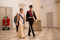 Le roi Philippe de Belgique et la reine Mathilde de Belgique en visite d'Etat au Danemark, sont invit&eacute;s au banquet d'Etat au Palais de Christiansborg, par le prince h&eacute;ritier Joachim de Danemark  la princesse Marie de Danemark, la princesse Mary de Danemark et la reine Margrethe II de Danemark.<br /> Danemark, Copenhague, 28 mars 2017.<br /> King Philippe of Belgium &amp; Queen Mathilde of Belgium during a State Visit to Copenhagen in Denmark are attending the State Banquet at Christiansborg Palace with Crown Prince Joachim of Denmark,  Princess Marie of Denmark, Princess Mary of Denmark and Queen Margrethe II of Denmark.<br /> Denmark, Copenhagen, March 28, 2017.<br /> Pic : Princess Marie of Denmark &amp; Prince Joachim of Denmark