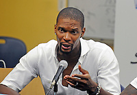 NBA player Chris Bosh at a pre-game press conference at the South Florida All Star Classic held at FIU's U.S. Century Bank Arena, Miami, Florida. .