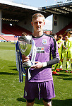 Ryan Scofield of Huddersfield Town U21 with the trophy during the PDL U21 Final at Bramall Lane Sheffield. Photo credit should read: Simon Bellis/Sportimage