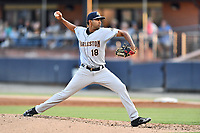 Charleston RiverDogs starting pitcher Yoendrys Gomez (18) delivers a pitch during a game against the Asheville Tourists at McCormick Field on August 15, 2019 in Asheville, North Carolina. The Tourists defeated the RiverDogs 6-3. (Tony Farlow/Four Seam Images)