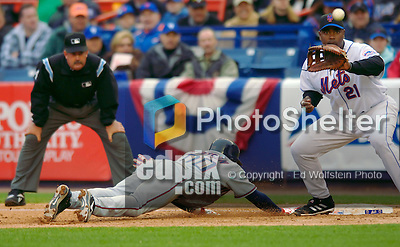 3 April 2006: Brandon Watson, outfielder for the Washington Nationals, dives safely back to first during Opening Day play against the New York Mets at Shea Stadium, in Flushing, New York. The Mets defeated the Nationals 3-2 to lead off the 2006 MLB season...Mandatory Photo Credit: Ed Wolfstein Photo..