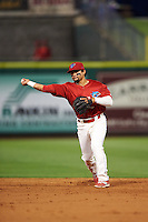 Clearwater Threshers second baseman Drew Stankiewicz (13) throws to first during a game against the Charlotte Stone Crabs on April 12, 2016 at Bright House Field in Clearwater, Florida.  Charlotte defeated Clearwater 2-1.  (Mike Janes/Four Seam Images)