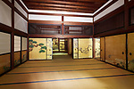 Traditional Japanese room interior with painted sliding doors and tatami mats inside the main hall of Konchi-in historic Buddhist temple, Nanzen-ji complex in Sakyo-ku, Kyoto, Japan 2017 Image © MaximImages, License at https://www.maximimages.com